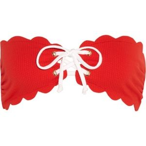 Marysia scalloped red bikini top size L